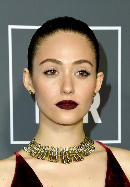 Emmy Rossum Gold Collar Necklace [hair,face,lip,eyebrow,chin,hairstyle,cheek,skin,beauty,head,arrivals,emmy rossum,critics choice awards,santa monica,california,barker hangar]