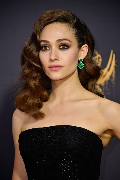 Emmy Rossum Dangling Gemstone Earrings [hair,fashion model,beauty,human hair color,model,hairstyle,eyebrow,lady,shoulder,girl,arrivals,emmy rossum,microsoft theater,los angeles,california,primetime emmy awards]
