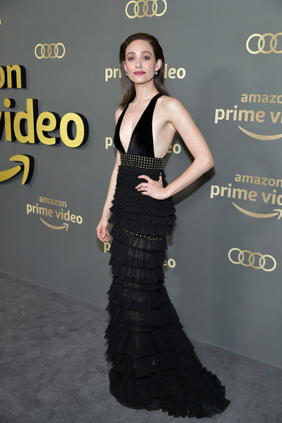 Emmy Rossum Evening Dress [amazon prime video,dress,clothing,fashion model,fashion,gown,shoulder,hairstyle,premiere,cocktail dress,little black dress,emmy rossum,golden globe awards,beverly hills,california,the beverly hilton hotel,arrivals,party]