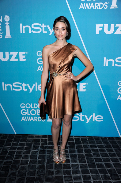 Emmy Rossum One Shoulder Dress [dress,clothing,shoulder,cocktail dress,fashion model,premiere,fashion,joint,hairstyle,electric blue,emmy rossum,instyle presents,cecconis restaurant,california,los angeles,hollywood foreign press association,a night of firsts]