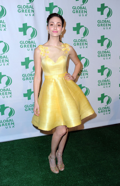 Emmy Rossum Strappy Sandals [clothing,dress,cocktail dress,green,yellow,shoulder,fashion model,joint,leg,footwear,arrivals,emmy rossum,california,hollywood,avalon,global green usa,9th annual pre-oscar party]