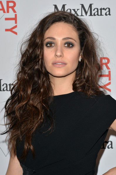 Emmy Rossum Long Curls [whitney art party,max mara,hair,beauty,human hair color,hairstyle,eyebrow,fashion model,long hair,chin,black hair,shoulder,new york city,highline stages,emmy rossum]