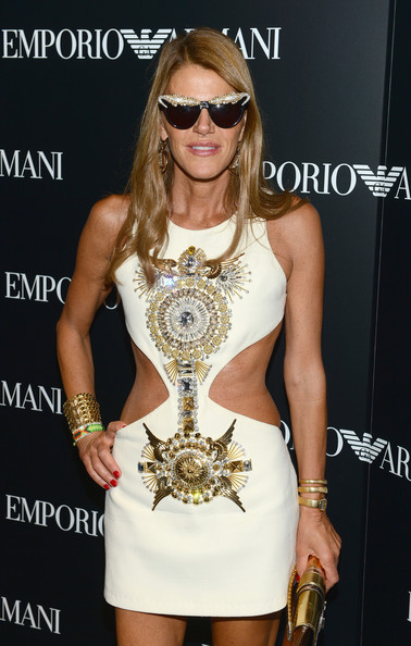 Anna dello Russo attended the Emporio Armani New York flagship opening wearing an intricate gold cuff she designed for H&M.