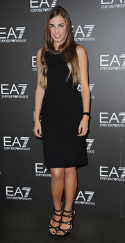 Amber Le Bon partnered her LBD with a pair of strappy satin sandals.