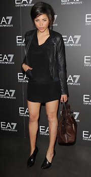 Ana Araujo kept it simple yet chic with an LBD and black leather jacket at the Emporio Armani Summer Garden Live party.