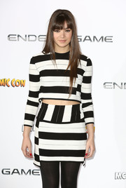 Hailee Steinfeld looked striking in a boldly striped crop-top and a matching mini skirt during the 'Ender's Game' photocall in London.