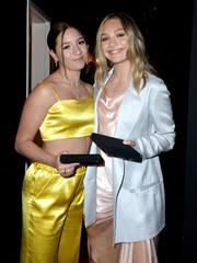 Maddie Ziegler layered an elegant white blazer over a blush satin dress for the Ending Youth Homelessness gala.