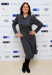 Arlene Phillips wore a unique charcoal dress with gathers and buttons for the 'Nutcracker' after-party.