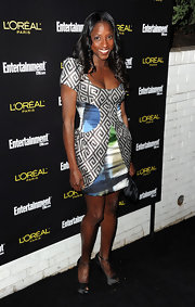 Rutina was bold in mix and match prints for the pre-SAG party.
