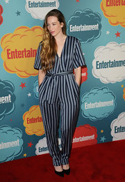 Sophie stuck to a pajama-inspired jumpsuit for her red carpet look at the EW Annual Comic-Con celebration.