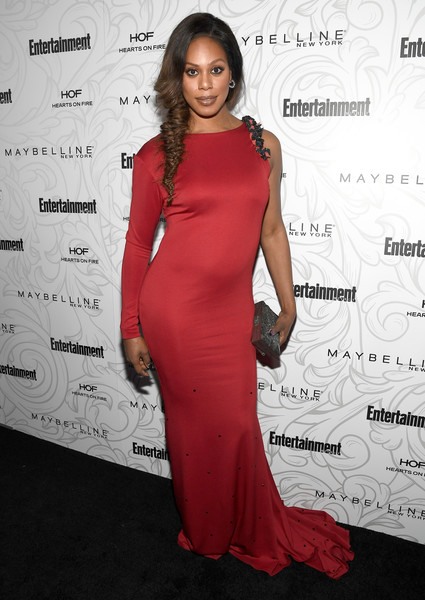 Laverne Cox paired her dress with a silver box clutch by Emm Kuo.