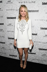 Kaley Cuoco styled her LWD with a chic pair of gold triple-strap heels.