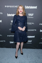 Patricia Clarkson sparkled in a navy sequined cocktail dress by Michael Kors at the Entertainment Weekly SAG nominees party.