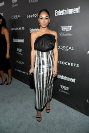 Cara Santana looked party-ready in a metallic striped dress by Rasario at the Entertainment Weekly SAG nominees party.