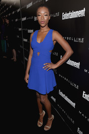 Samira Wiley looked cool and trendy in an electric-blue cutout dress during the Entertainment Weekly celebration honoring the SAG nominees.