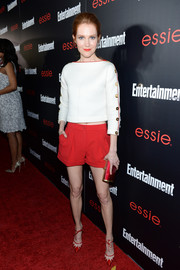 A pair of red and white ankle-tie pumps provided a sophisticated finish to Darby Stanchfield's casual ensemble.