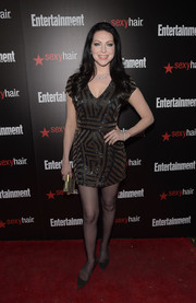 Laura Prepon chose a super-short, geometric-beaded dress for the Entertainment Weekly SAG Awards nominee celebration.