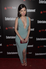 Christian Serratos made a daring yet elegant choice with this slinky deep-V gown in a muted mint-green hue for the Entertainment Weekly SAG Awards nominee celebration.