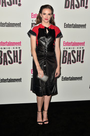 Danielle Panabaker sported a color-block leather dress at the Entertainment Weekly Comic-Con celebration.
