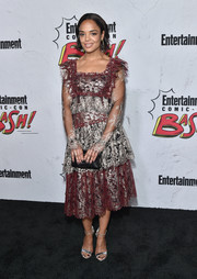 Tessa Thompson completed her outfit with silver ankle-strap sandals by Casadei.