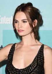 Lily James pulled off this disheveled updo at the Entertainment Weekly Comic-Con party.