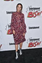 Amber Stevens West kept it modest and ladylike in a long-sleeve print dress by IRO at the Entertainment Weekly Comic-Con party.