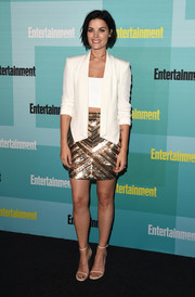 Jaimie Alexander balanced out her flirty skirt with a structured white blazer by Rebecca Minkoff.