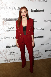 Madeline Brewer looked flawless in a red Veronica Beard pantsuit with gold buttons during Entertainment Weekly's SAG Awards nominees celebration.