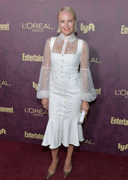 Malin Akerman looked ultra feminine in a white Alice McCall midi dress with a ruffle hem and a lace underlay at the Entertainment Weekly pre-Emmy party.
