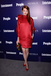 Darby Stanchfield kept it classy in a high-neck red satin shift dress by The 2nd Skin Co. at the Entertainment Weekly and People celebration of the New York Upfronts.