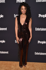 Susan Kelechi Watson brought major shimmer to the Entertainment Weekly and People Upfronts with this fully sequined wine-red jumpsuit.