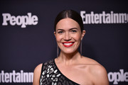 Mandy Moore slicked her hair down into a severe center-parted updo for the Entertainment Weekly and People Upfronts.
