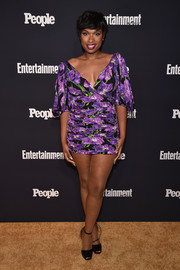 Jennifer Hudson gave us an eyeful of leg in this super-short Gucci floral dress at the Entertainment Weekly and People Upfronts.
