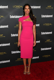 Padma Lakshmi went for a modern feel in a magenta sheath dress with a geometric neckline during the Entertainment Weekly pre-Emmy party.
