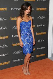 Jamie Chung looked beguiling in a strapless blue lace dress by Oliver Tolentino during the Entertainment Weekly pre-Emmy party.