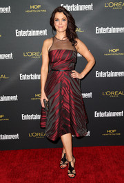 Bellamy Young charmed in a zebra-patterned sheer-yoke dress by Pamella Roland at the Entertainment Weekly pre-Emmy party.