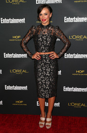 Karina Smirnoff went matchy-matchy at the Entertainment Weekly pre-Emmy party with this black and silver lace pencil skirt and crop-top combo.