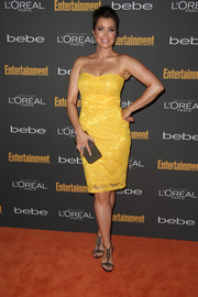 Bellamy Young was a ray of sunshine in a bright yellow strapless dress during the Entertainment Weekly pre-Emmy party.