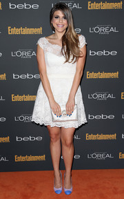 Molly Tarlov looked prom-ready in a white lace cocktail dress during the Entertainment Weekly pre-Emmy party.