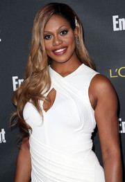 Laverne Cox wore lovely, flowy waves with one side clipped back during the Entertainment Weekly pre-Emmy party.