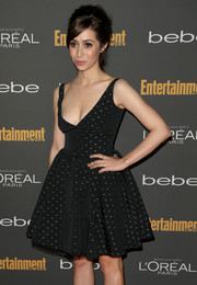 Cristin Milioti looked daring yet adorable in a low-cut polka-dot LBD with a flared skirt during the Entertainment Weekly pre-Emmy party.
