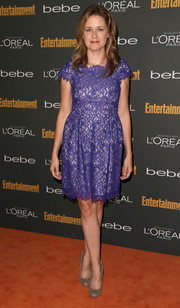 Jenna Fischer oozed ladylike appeal in a purple lace cocktail dress during the Entertainment Weekly pre-Emmy party.