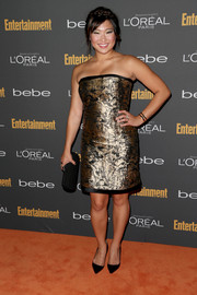 Jenna Ushkowitz glowed in a metallic gold strapless dress by Carolina Herrera at the Entertainment Weekly pre-Emmy party.