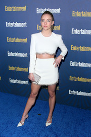 Sydney Sweeney added some sparkle with a beaded silver clutch.