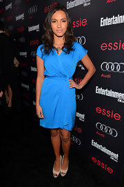 Jessica Lucas looked chic in a bright blue wrap dress at the Entertainment Weekly Pre-SAG Party.