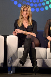 Jennifer Aniston wore chic knee-high wedge boots by Prada when she attended Entertainment Weekly's PopFest.