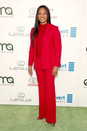 Garcelle Beauvais was hard to miss in her bright red Theory pantsuit at the EMA Awards.