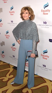 A black leather clutch polished off Jane Fonda's look.