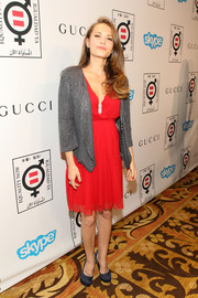 Bethany Joy Lenz teamed a chainmail-like blazer with a lovely red dress for the Make Equality Reality event.