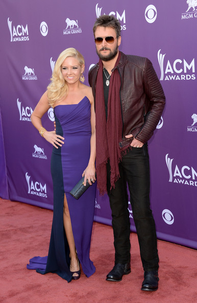Eric Church Leather Jacket [carpet,red carpet,purple,event,dress,flooring,premiere,electric blue,formal wear,suit,arrivals,katherine blasingame,eric church,academy of country music awards,las vegas,nevada,mgm grand garden arena,academy of country music awards]